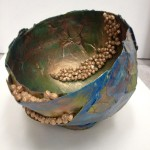 BOWL Paper mache & acrylic paint sold (1)