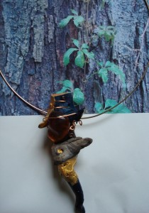 DRIFTWOOD& AMBER & COPPER WIRE