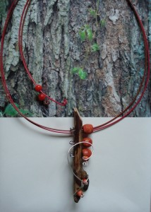 DRIFTWOOD & CORAL & SILVER WIRE   $25.00